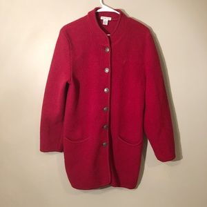 Talbots | 100% Wool Button Down Coat Red m